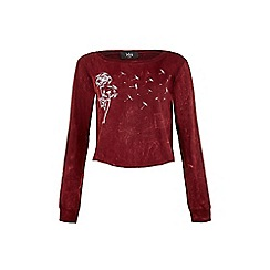 Iska - Red Dandelion Print Cropped Top