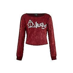 Iska - Red Always Slogan Print Cropped Top