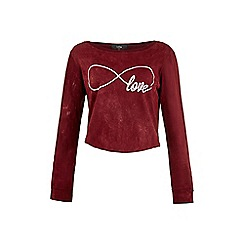 Iska - Red Love Slogan Print Cropped Top