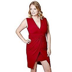 Mela London Curve - Red wrapped 'Evalyn' mini bodycon dress