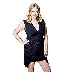 Mela London Curve - Black wrapped 'Evalyn' mini bodycon dress