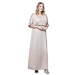 Mela London Curve - Gold kimono sleeve 'Mariyah' maxi dress