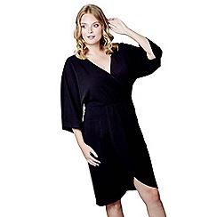 Mela London Curve - Black 'Lavinia' v-neck wrap dress