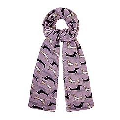 Yumi - Purple Sausage Dog Print Scarf