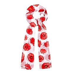 Yumi - White Poppy Print Scarf