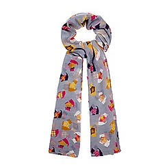 Yumi - Grey Scotty Dog Print Scarf