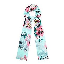 Yumi - Blue Tropical Floral Print Scarf