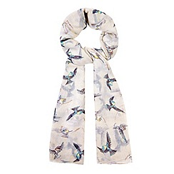 Yumi - Cream Flying Bird Print Scarf