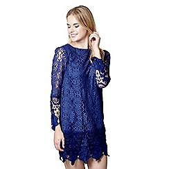 Mela London - Navy floral print lace 'Meredith' mini tunic dress