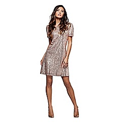 Mela London - Gold cap sleeves 'Bobbi' mini sequin dress