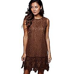 Mela London - Brown lace 'Nelly' sleeveless tunic dress