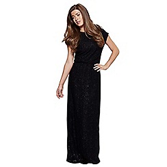 Mela London - Black sequin lace 'Aarya' short sleeve maxi dress