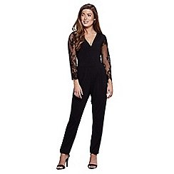 Mela London - Black floral lace sleeve jumpsuit