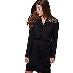 Mela London - Black lace panel 'Haniya' mini shirt dress