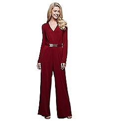 Mela London - Red wide legged belted jumpsuit