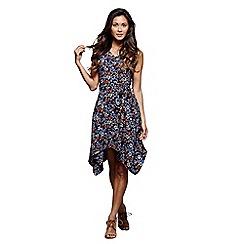 Mela London - Blue floral print 'Jada' sleeveless skater dress