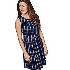 Mela London - Navy checked print 'Teegan' mini skater dress
