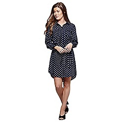 Mela London - Navy polka dot 'Dulcie' mini shirt dress