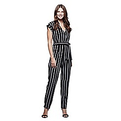 Mela London - Black stripe pattern wrap jumpsuit