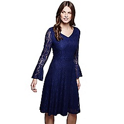 Mela London - Navy floral lace 'Kelsie' bell sleeves skater dress