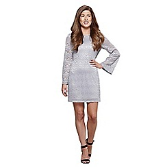 Mela London - Silver lace 'Vienna' bell sleeve bodycon dress