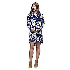 Mela London - Navy floral print 'Mina' mini shirt dress
