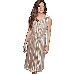 Mela London - Gold metallic stripe 'Dolcie' midi skater dress