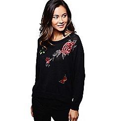 Mela London - Black flower embroidered jumper