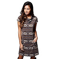 Mela London - Brown aztec pattern 'Mahi' mini tunic dress