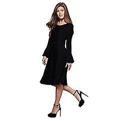 Mela London - Black shimmer 'Mehreen' bell sleeve skater dress
