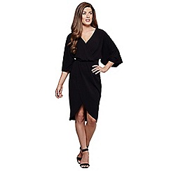 Mela London - Black kimono sleeves 'Pola' wrap dress