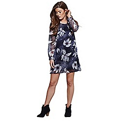 Mela London - Blue floral print 'Selena' mini tunic dress