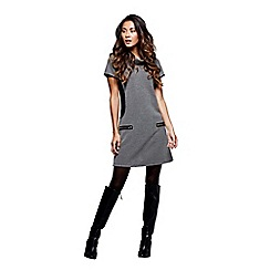 Mela London - Grey zipped pocket 'Aanya' mini tunic dress