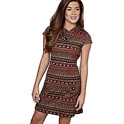 Mela London - Brown pattern 'Bryony' mini tunic dress