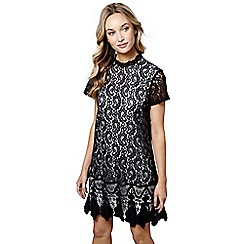 Mela London - Black floral print 'Avneet' mini tunic dress