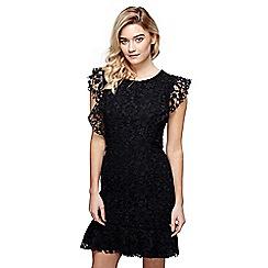 Mela London - Black floral print 'Evelina' mini bodycon dress