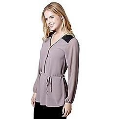 Mela London - Brown zip front blouse
