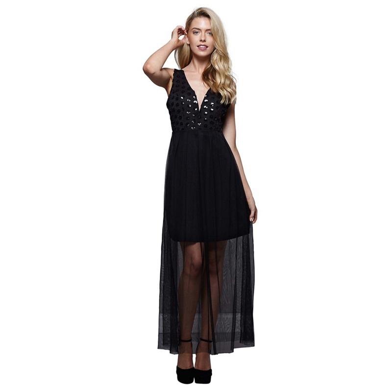 e0845681d8 Mela London - Black Lace  Wren  Evening Maxi Dress