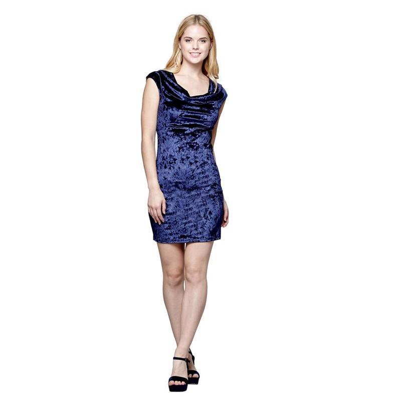 589cd56648 Mela London - Blue Velvet  Anwen  Cowl Neck Bodycon Dress