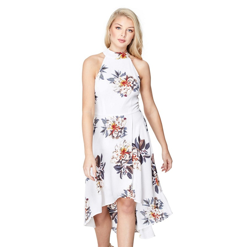 962b73313b Mela London - White Floral Print  Peace  High Low Skater Dress ...