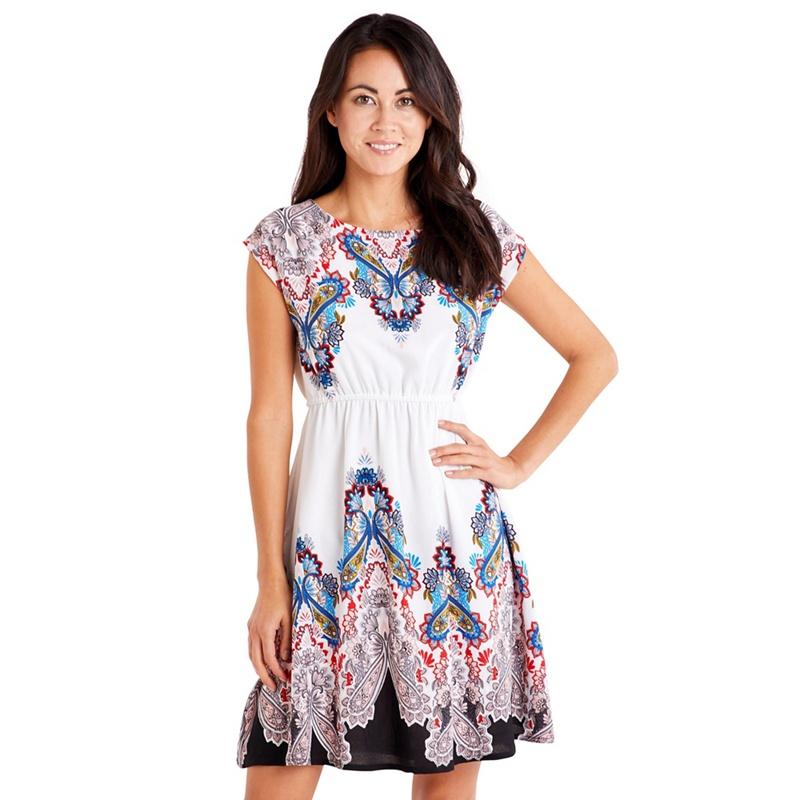 Mela London White Aztec Border Print Skater Dress, Women's, Dresses