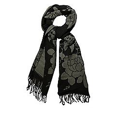 Yumi - Grey rose print winter scarf