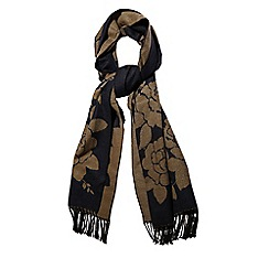 Yumi - Blue rose print winter scarf