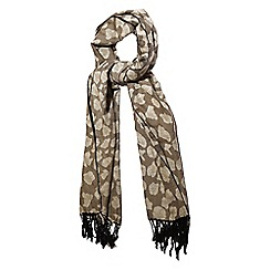 Yumi - Cream leopard print winter scarf