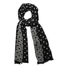 Yumi - Black polka dot print winter scarf