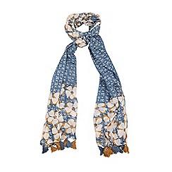 Yumi - Blue Floral Print Tassel Scarf