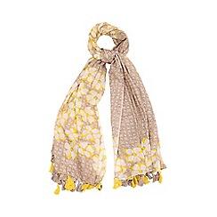 Yumi - Yellow Floral Print Tassel Scarf