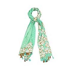 Yumi - Green Floral Print Tassel Scarf