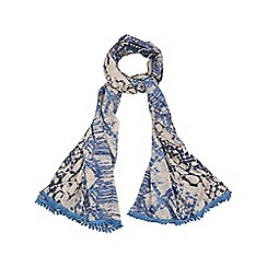 Yumi - Blue Art Print Tassel Scarf