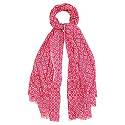 Yumi - Pink Ditsy Daisy Print Cotton Scarf